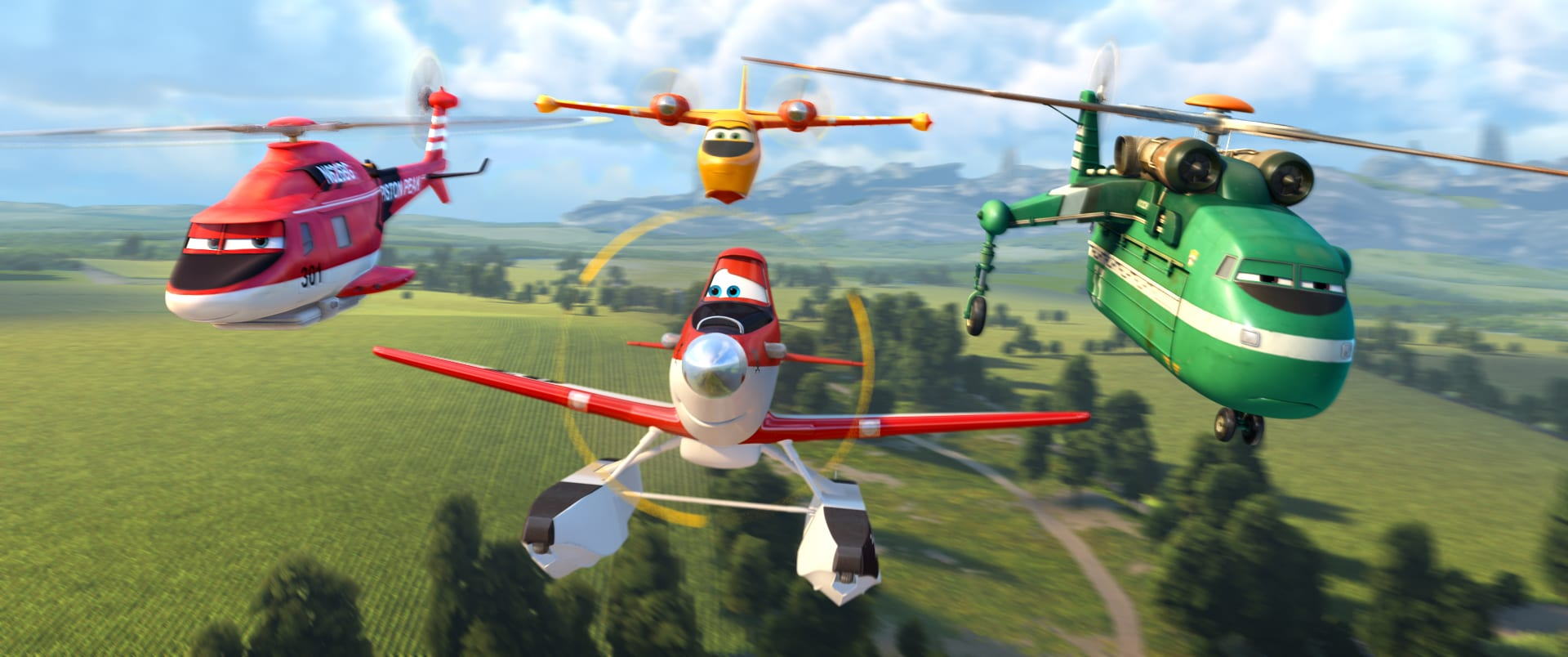 """Dusty, Blade Runner, Lil Dipper and Windlifter in the movie """"Planes: Fire & Rescue"""""""