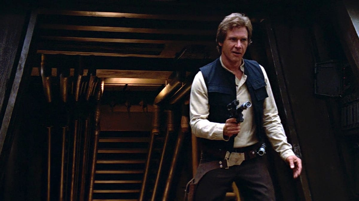 Han Solo in front of the Shield Generator Bunker on Endor