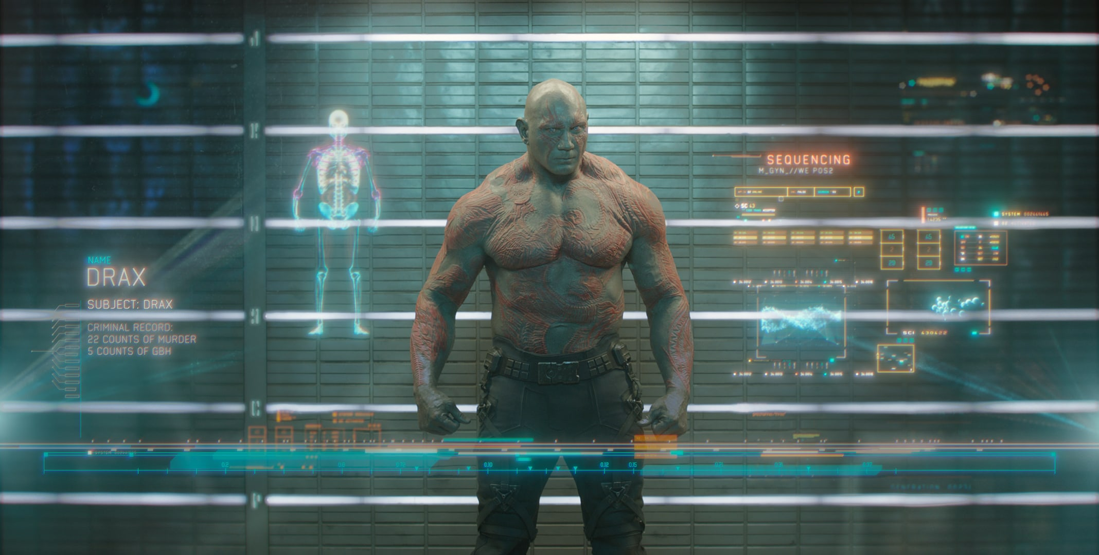 Dave Bautista as Drax in the movie Guardians of the Galaxy