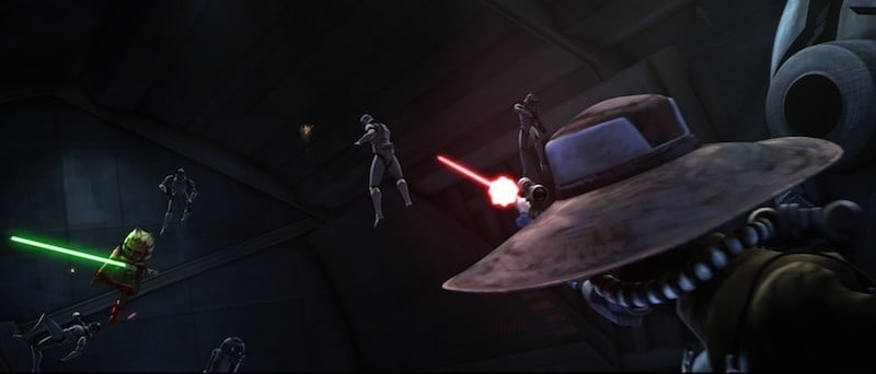 Cad Bane firing his blaster at Ahsoka Tano
