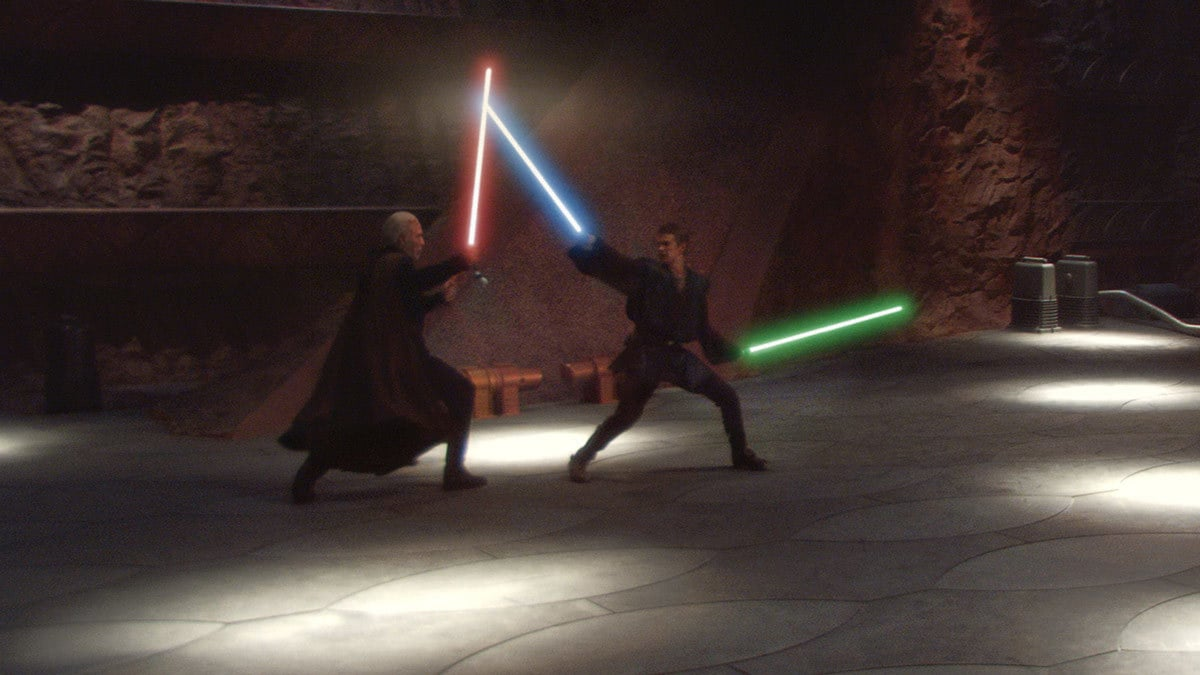 Anakin Skywalker duelling Count Dooku