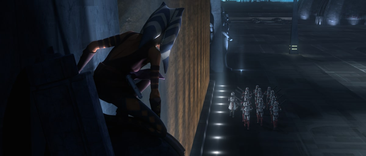 Ahsoka Tano fleeing from law enforcement in the Republic military base on Coruscant