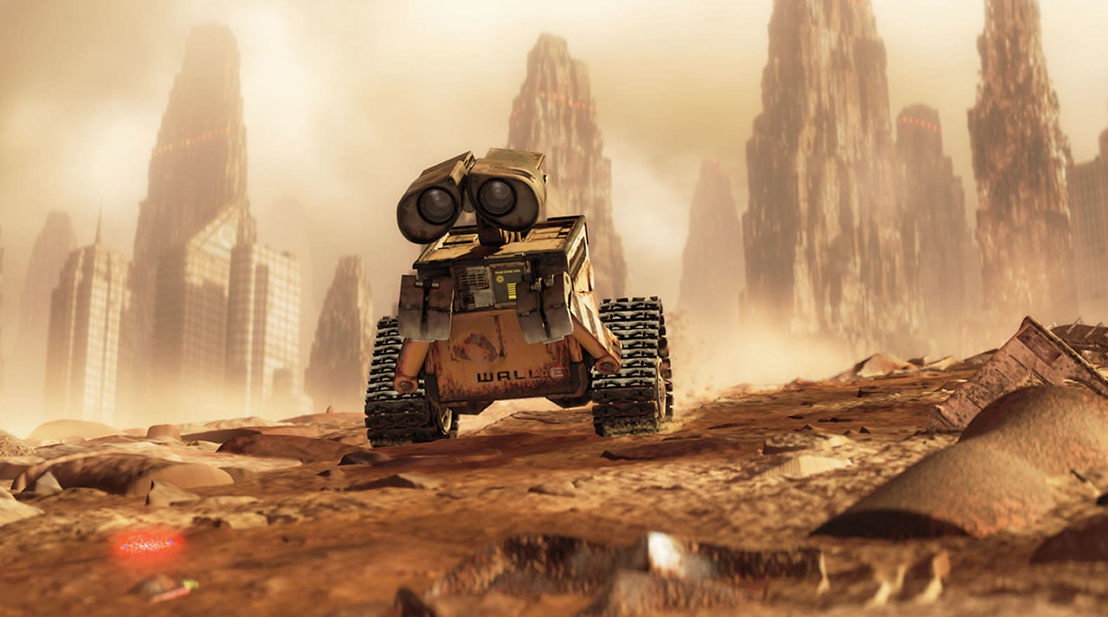 """The first time WALL•E meets EVE, she's all business, from the movie """"Wall-E"""""""