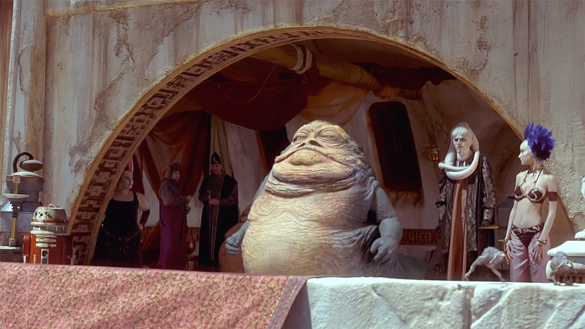 Jabba the Hutt and Bib Fortuna at the Mos Espa pod race