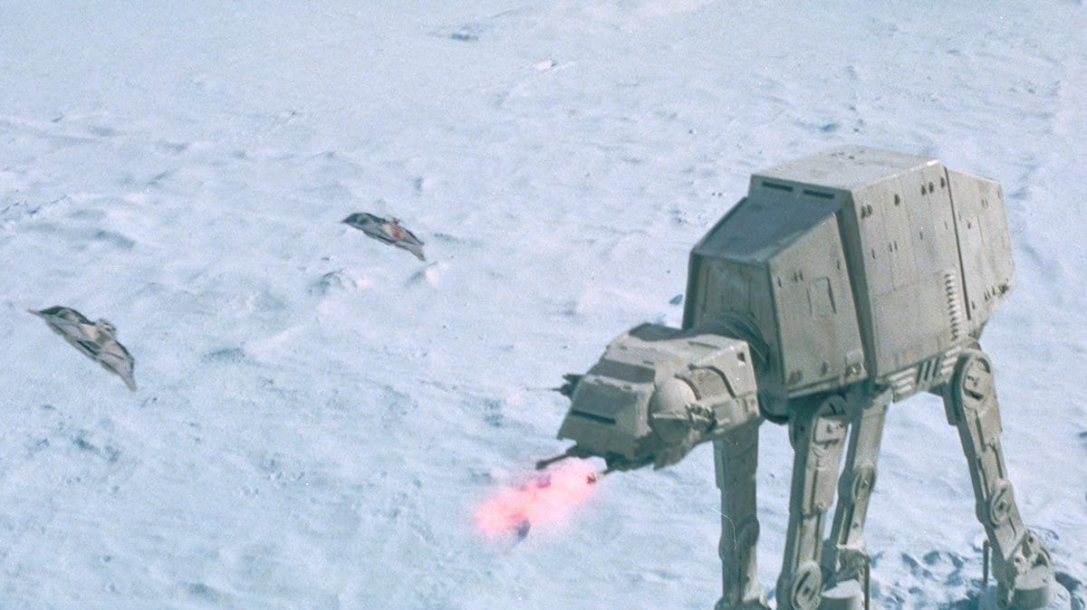 Rebel snowspeeders flying towards an Imperial AT-AT on Hoth