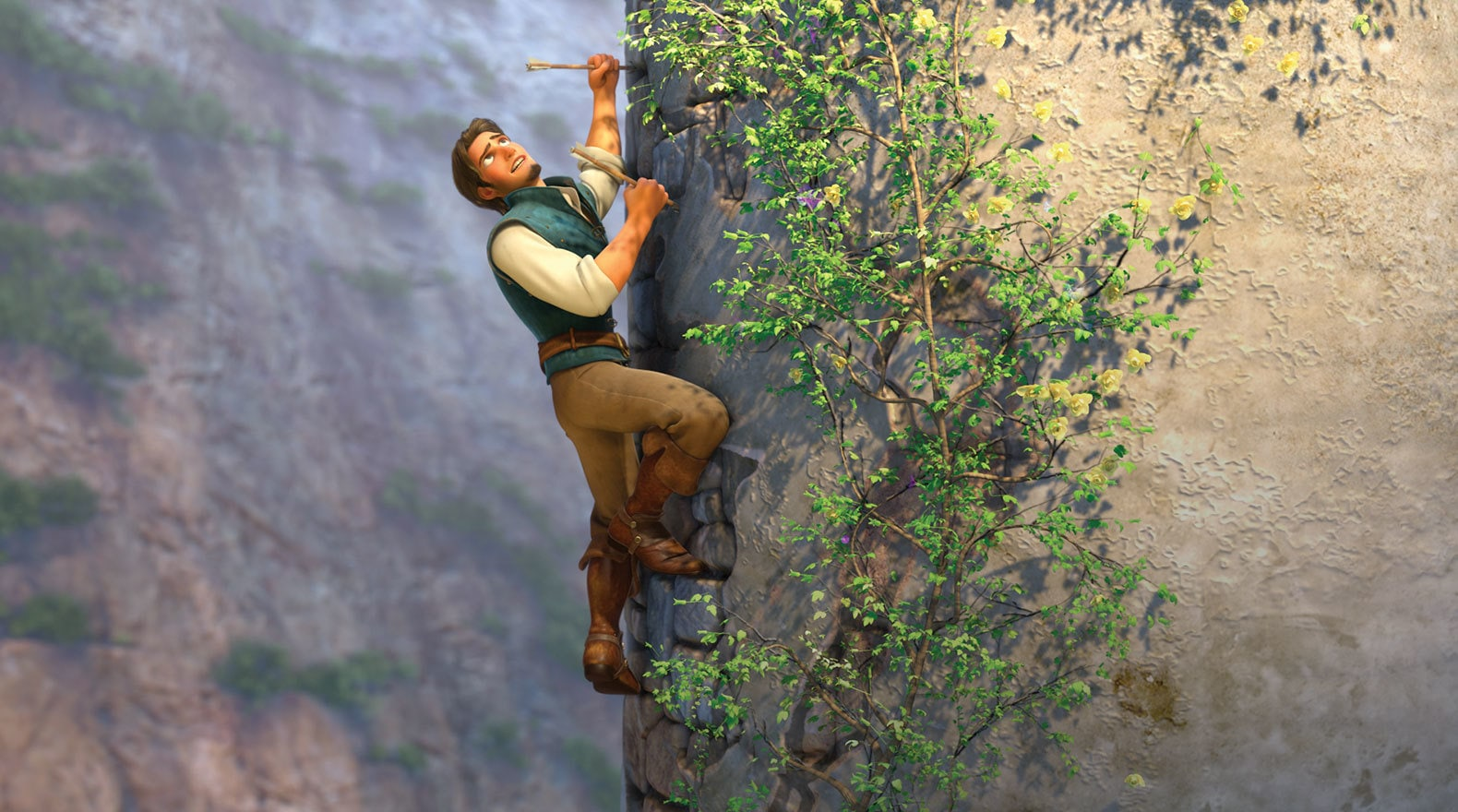 Flynn Rider discovers more than just a hideout when he climbs up the wall.