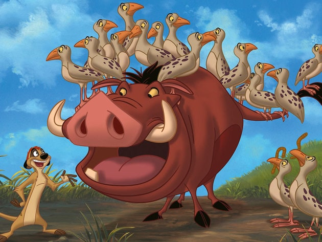 Pumbaa and Timon play babysitters.