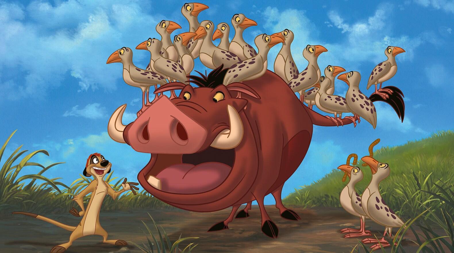 Pumbaa and Timon play babysitters.