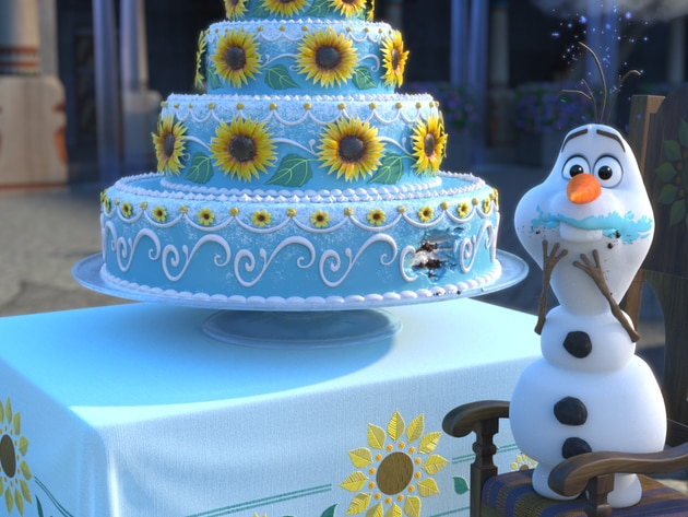 Olaf sneaks a taste of Anna's birthday cake in Frozen Fever