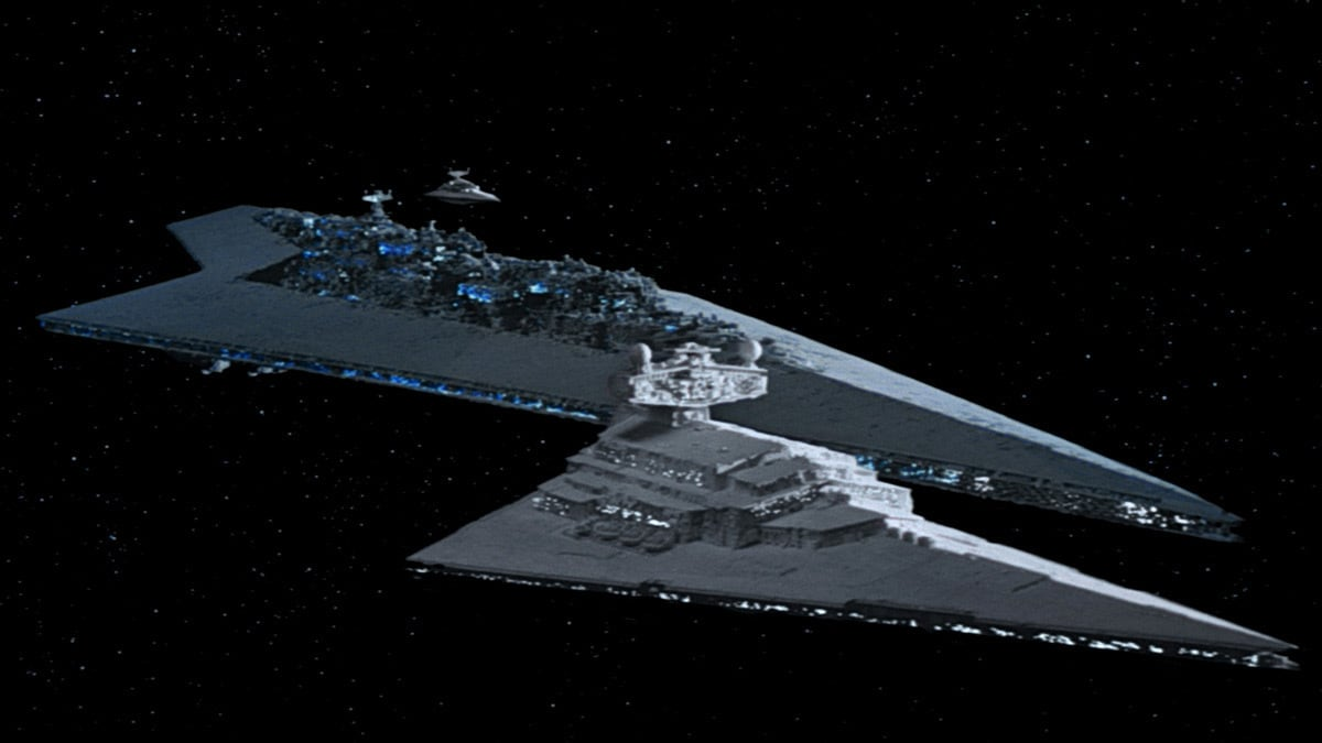Vader's Super Star Destroyer alongside an Imperial-class Star Destroyer