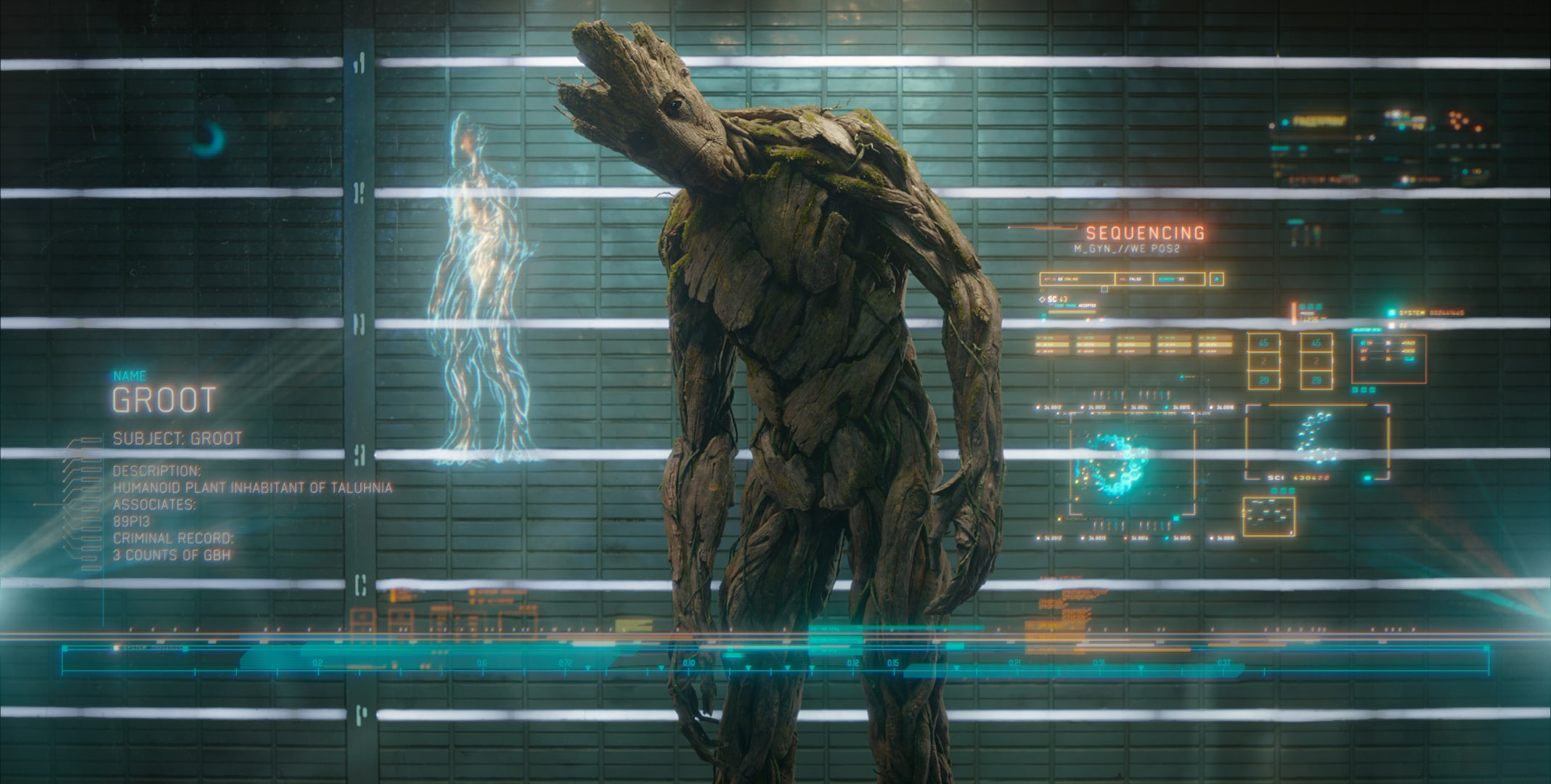 Groot Voiced by Vin Diesel in the movie Guardians of the Galaxy