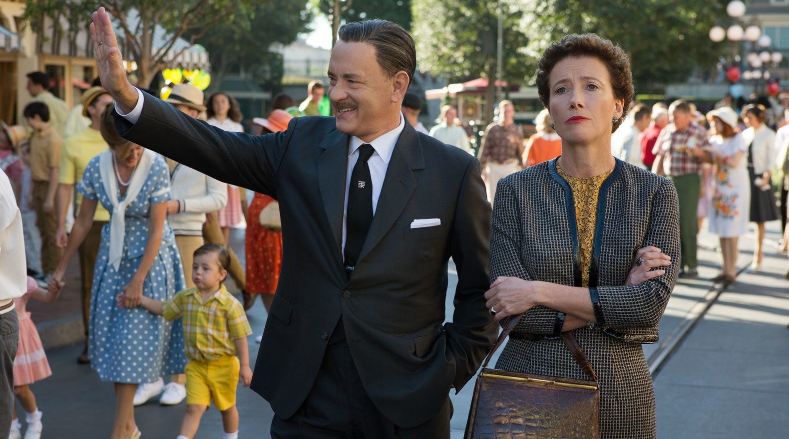 """Actors Tom Hanks (as Walt Disney) and Emma Thompson (as P.L. Travers) in the movie """"Saving Mr. Banks""""."""
