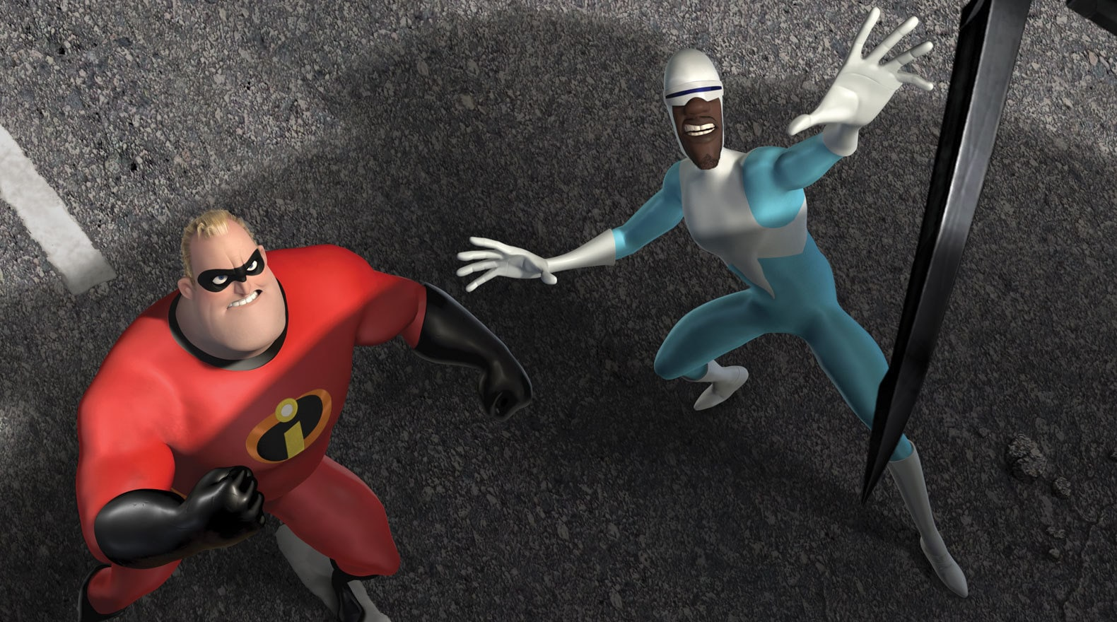 """Mr. Incredible and his friend Frozone in """"The Incredibles"""""""
