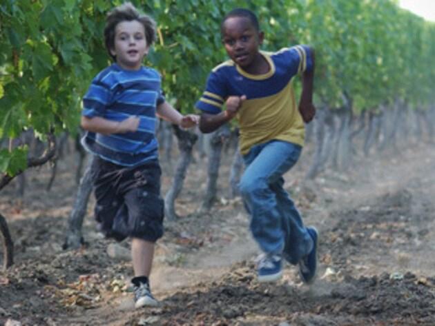 Running through the vineyard.
