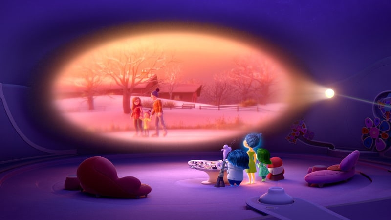 """Animated characters Joy, Sadness, Fear, Disgust and Anger watching a memory from the movie """"Inside Out"""""""