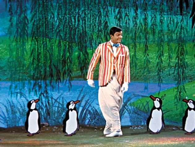 Bert and the penguins show off their dancing skills for Mary.