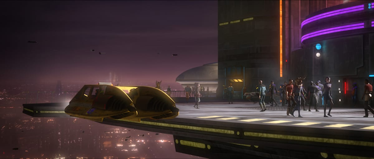 A taxi hovers in front of a Clone bar on Coruscant