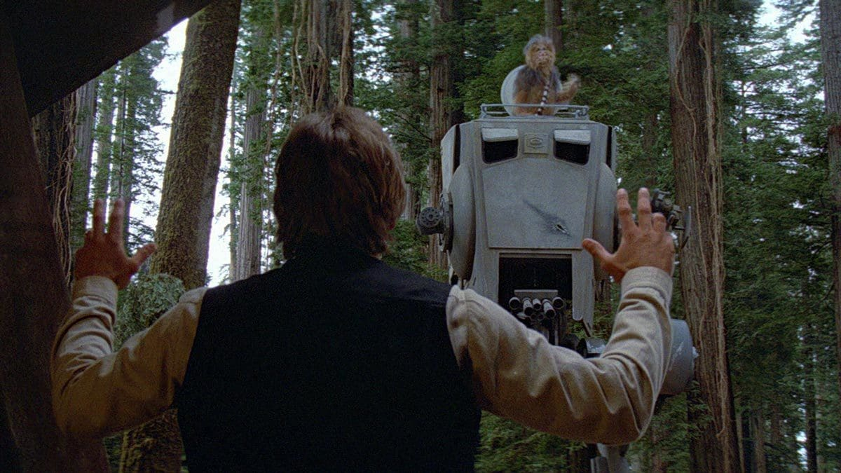 Chewbacca rescues Han Solo in an AT-ST on Endor