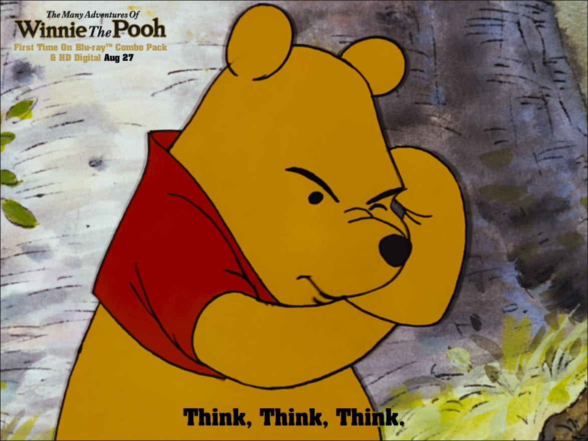 Pooh (voiced by Sterling Holloway) thinking hard in the movie The Many Adventures Of Winnie The Pooh