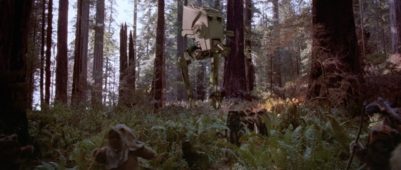 AT-ST fighting during the Battle of Endor