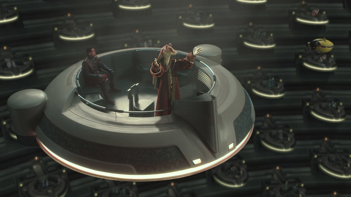 Jar Jar Binks addressing the Galactic Senate