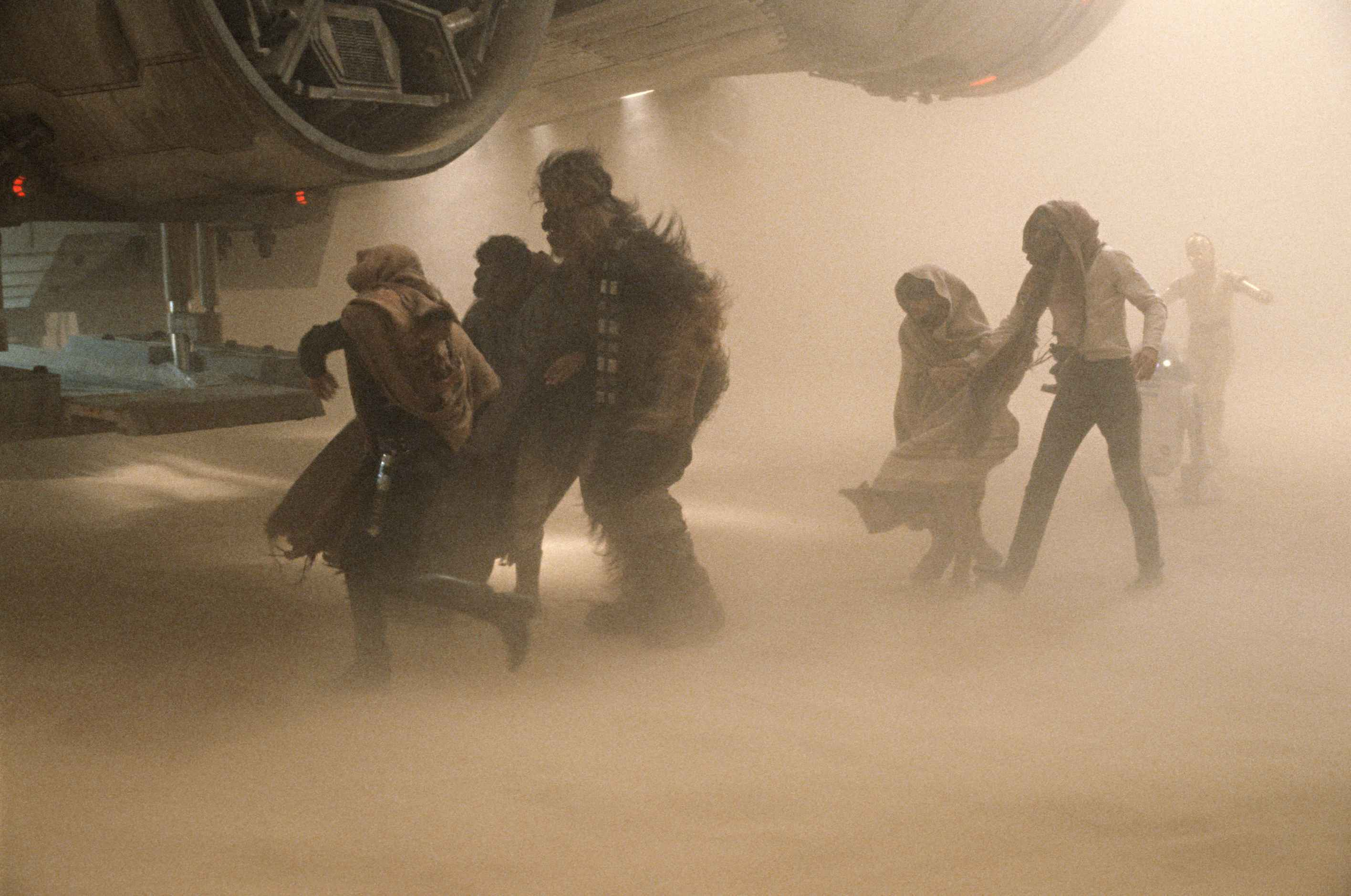"""The cast films the """"sandstorm"""" scene -- which would be deleted from the"""