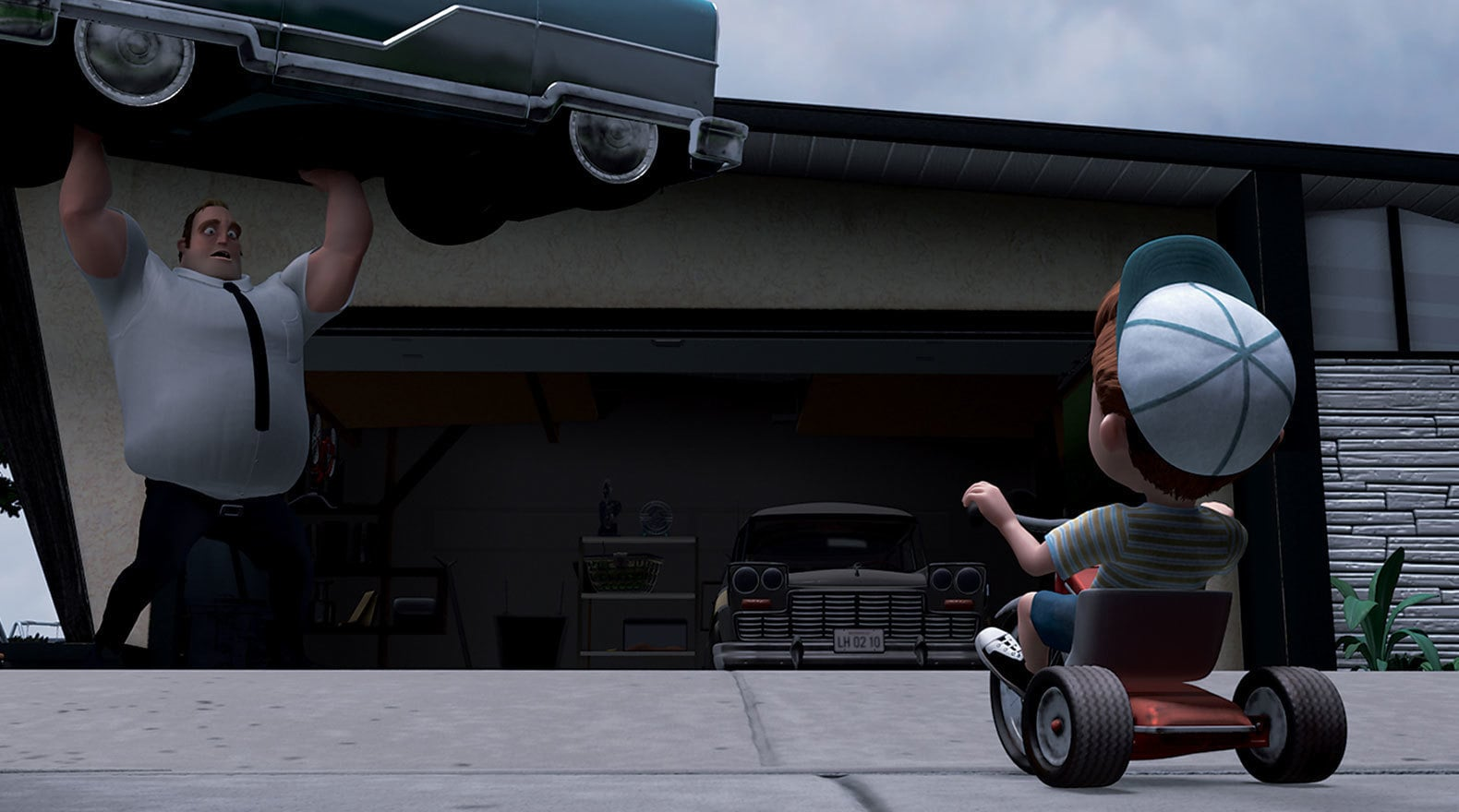 """Mr. Incredible lifts a car in """"The Incredibles"""""""