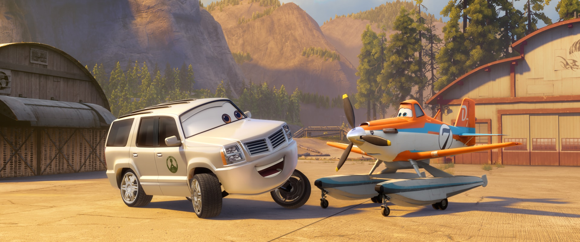 """Cad Spinner (John Michael Higgins) and Dusty (Dane Cook) in """"Planes: Fire & Rescue"""""""