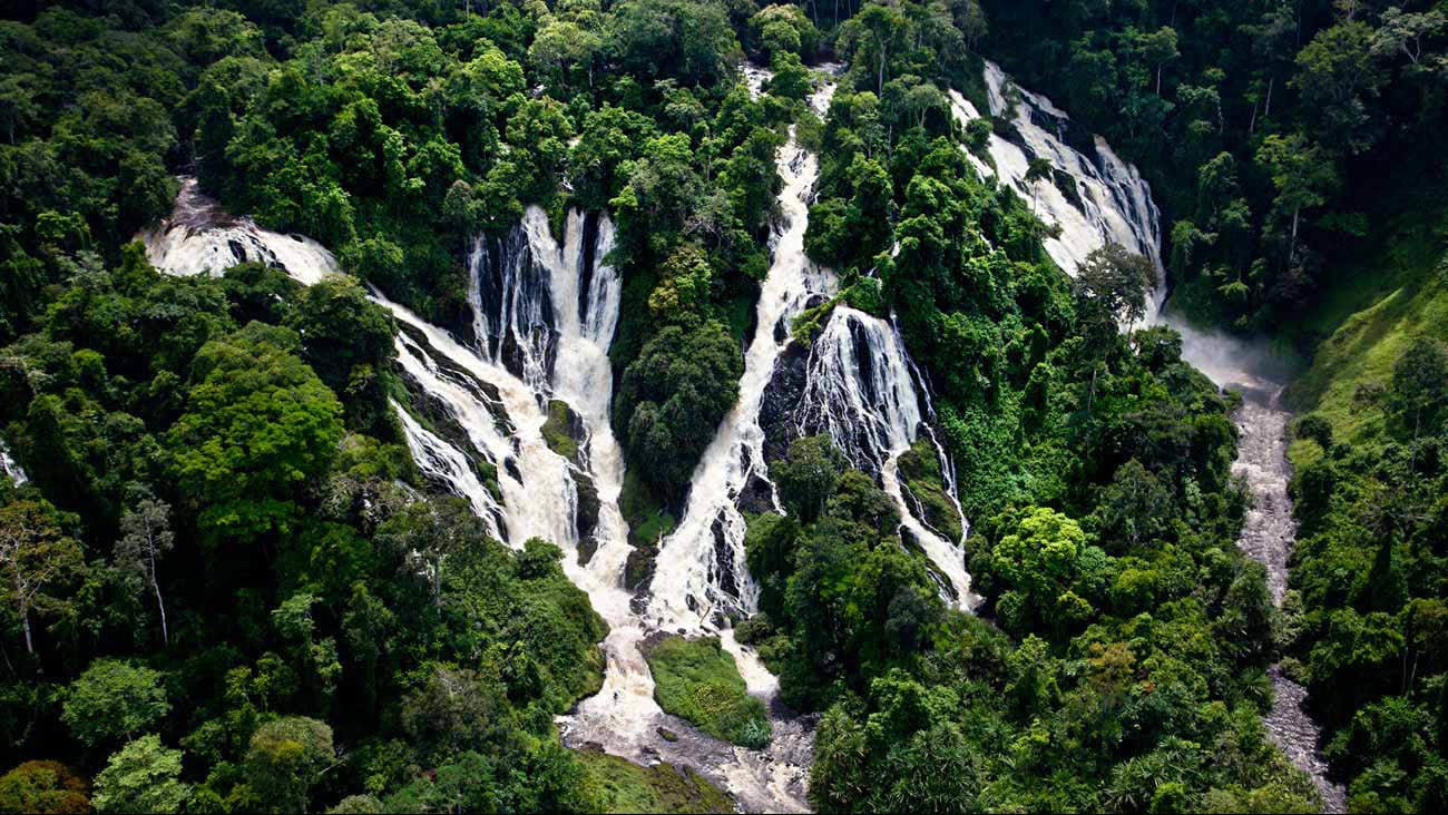 Majestic water pours down across the lush jungle mountains.