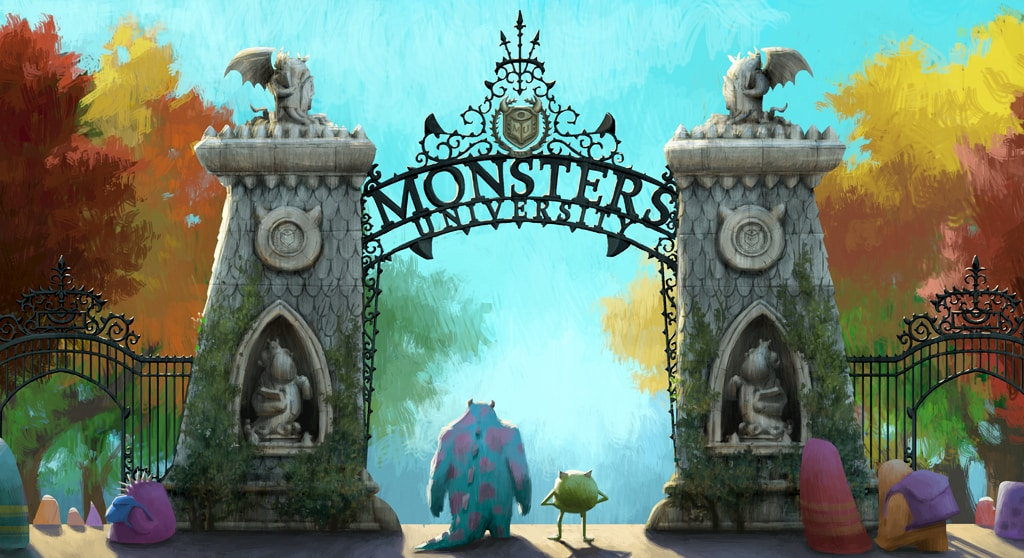 """Mike and Sulley at the entrance of Monsters University from the movie """"Monsters University"""""""