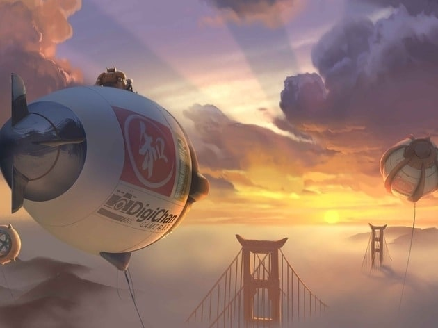 """Concept art of Baymax and Hiro on blimp over San Fransokyo bridge for the movie """"Big Hero 6"""""""