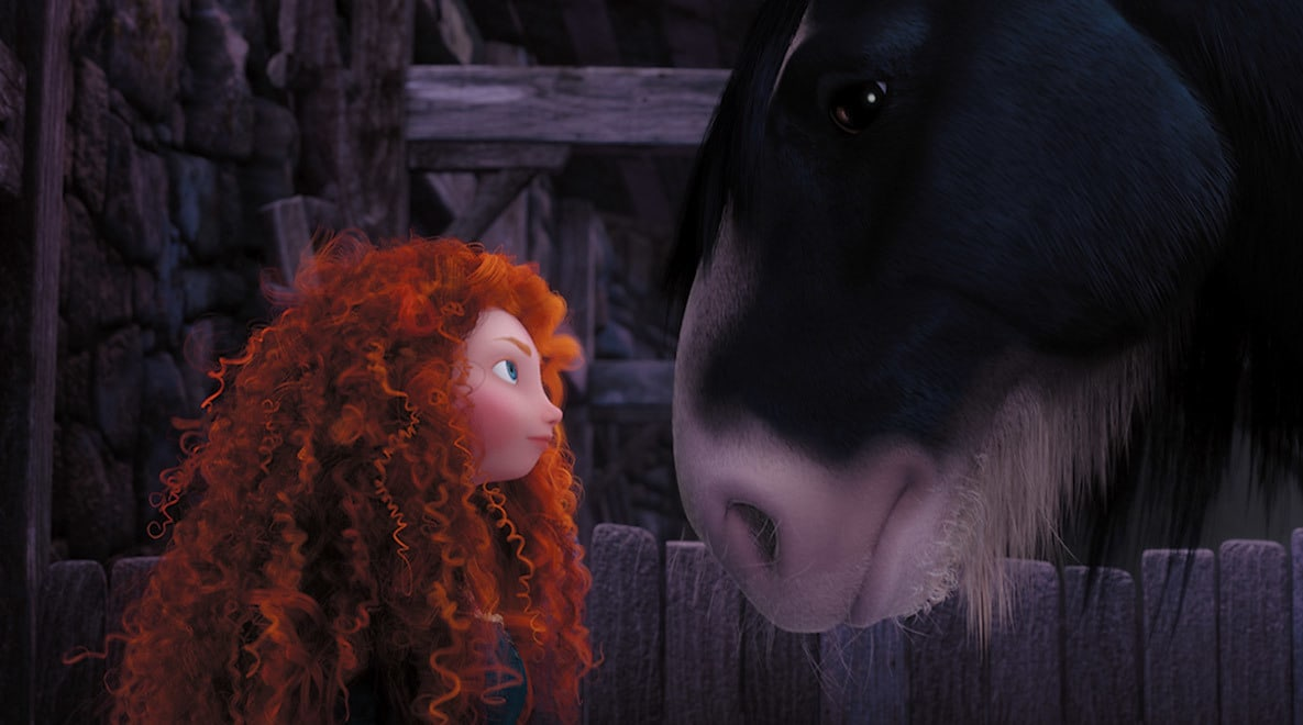 Merida, voiced by Kelly Macdonald, staring at her horse Angus in the movie Brave