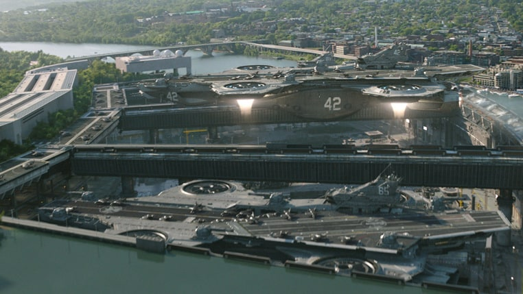 The aircraft carrier rising from the dock from Marvel's Captain America: The Winter Soldier.