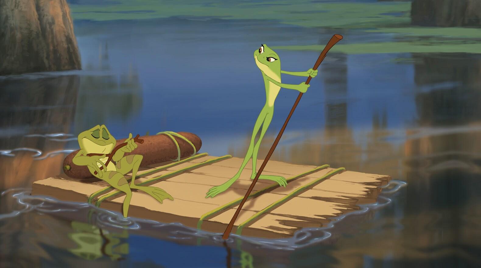 Frog Naveen lounging and Frog Tiana rowing a makeshift raft