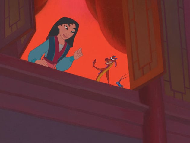 With a lucky cricket and a dragon pal, Mulan can handle anything.