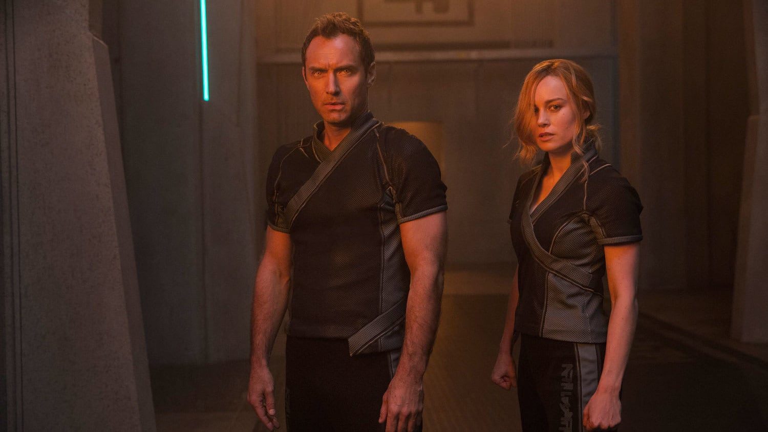 Jude Law as Yon-Rogg and Brie Larson as Vers in Captain Marvel
