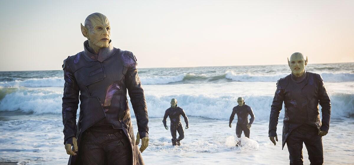 Skrulls walking out of the ocean in Marvel Studios' Captain Marvel