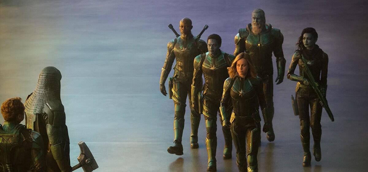 The Kree force walking towards Ronan in Marvel Studios' Captain Marvel
