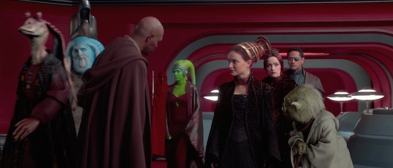 Mace Windu and Yoda greeting Orn Free Taa and other prominent Senators