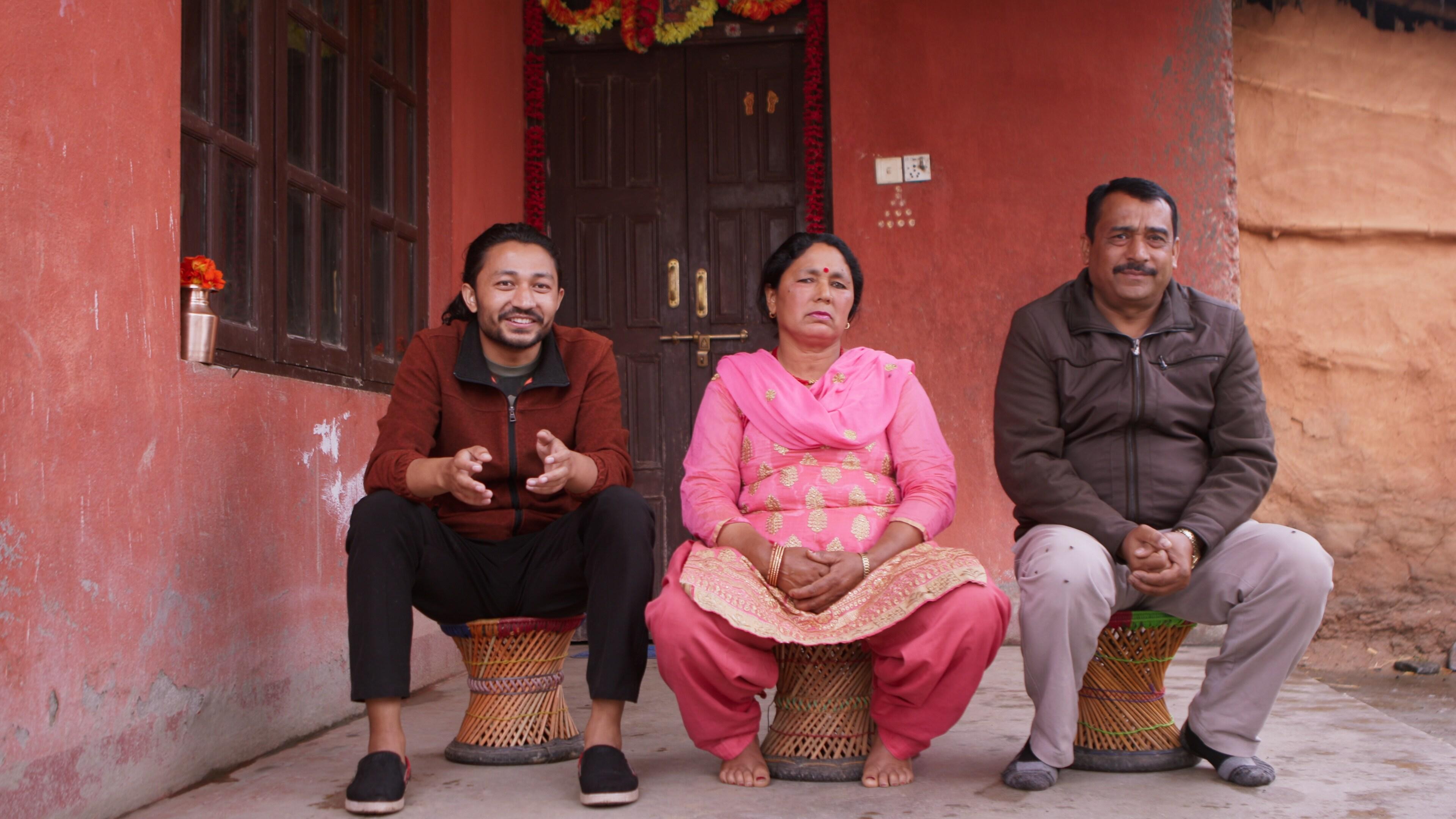 Bhaktapur, Nepal - Santosh Pandey (L) with his parents Chandra Pandey and Gauri Pandey. (Credit: Future of Work Film Inc)