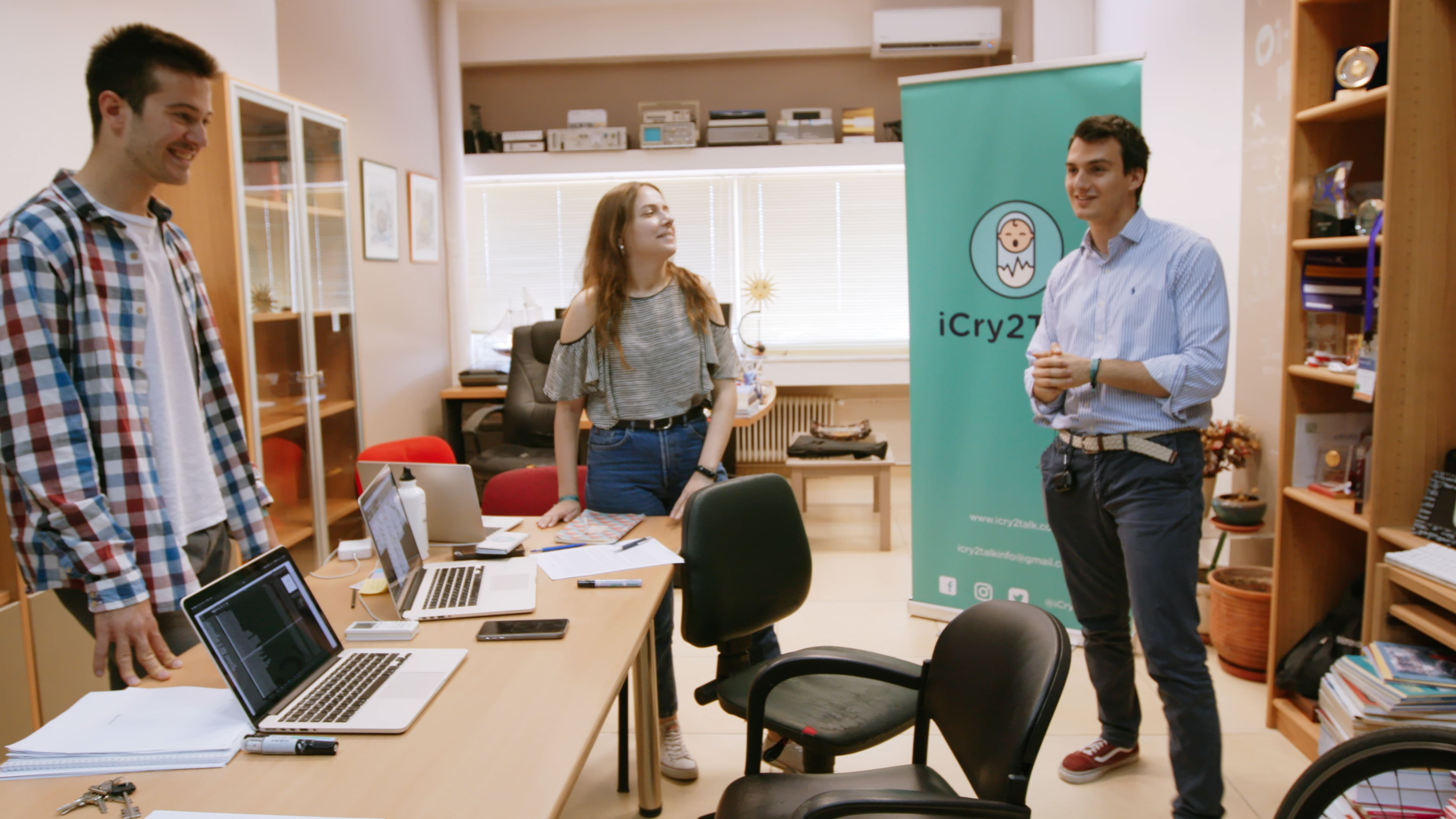 Thessaloniki, Greece - (L to R) iCry2Talk co-founders Andreas Loutzidis, Anastasia Ntracha and Jason Hadzikostas. (Credit: Future of Work Film Inc)