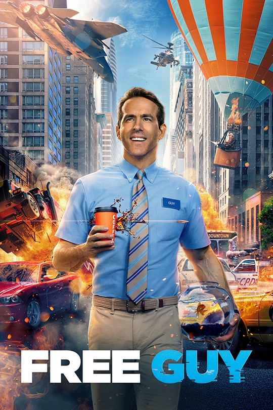 Guy (Ryan Reynolds) smiling holding a coffee cup in one hand and and a goldfish bowl in the other. There is a hot air balloon, a jet, and a helicopter in a chaotic scene behind him. From the 20the Century Studios movie Free Guy | movie poster