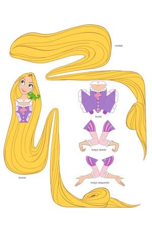 Boneca de papel da Rapunzel