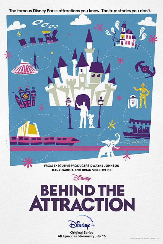 The famous Disney Parks attractions you know. The true stories you don't. | From Executive Producers Dwayne Johnson, Dany Garcia and Brian Volk-Weiss | Disney | Behind the Attraction | Disney+ | Original Series | All Episodes Streaming July 16 movie poster