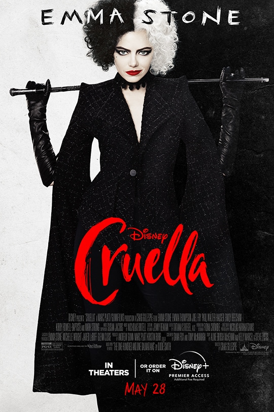 Emma Stone | Disney | Cruella | In theaters or order it on Disney+ with Premier Access (additional fee required) May 28 movie poster
