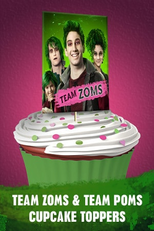 Team Zoms and Team Poms Cupcake Toppers