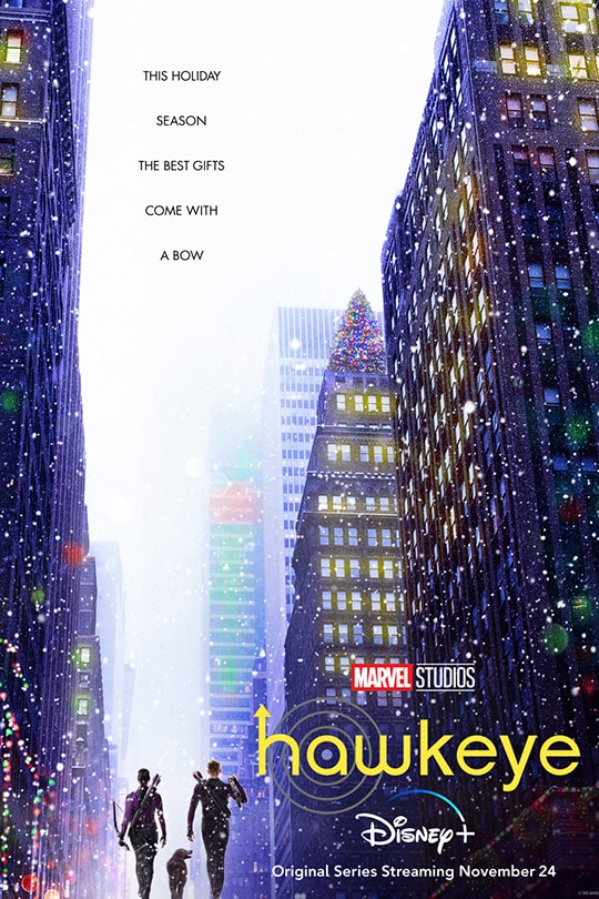 This holiday season the best gifts come with a bow. | Marvel Studios | Hawkeye | Disney+ | Original series streaming November 24 | movie poster