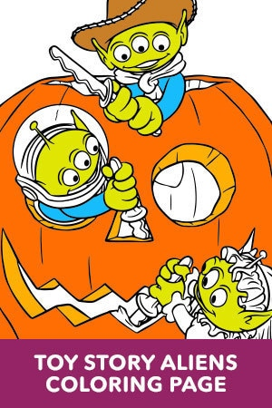 Aliens Halloween Coloring Page