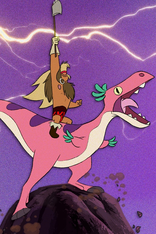 A barbarian riding a dinosaur at the top of a mountain | From the Disney Short Circuit film Dinosaur Barbarian.