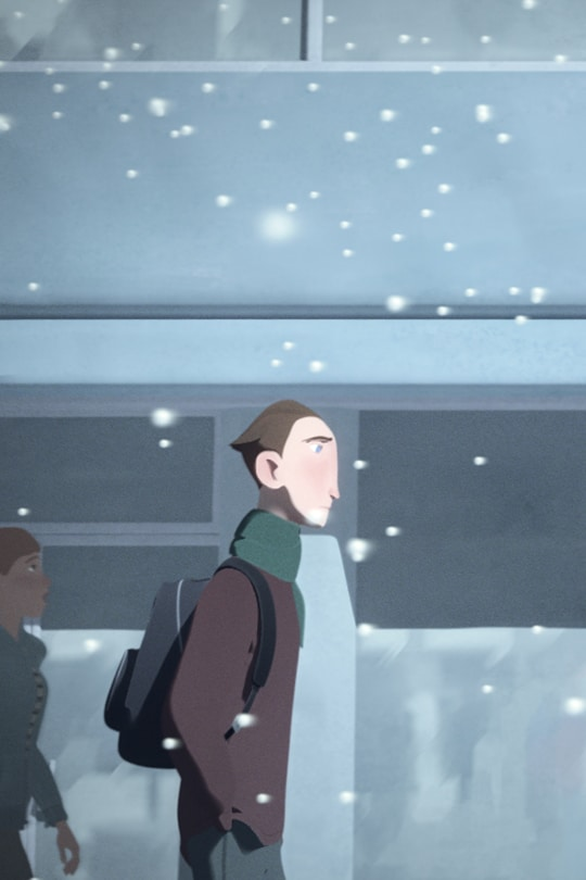 A man walking through snow | From the Disney Short Circuit film Going Home.